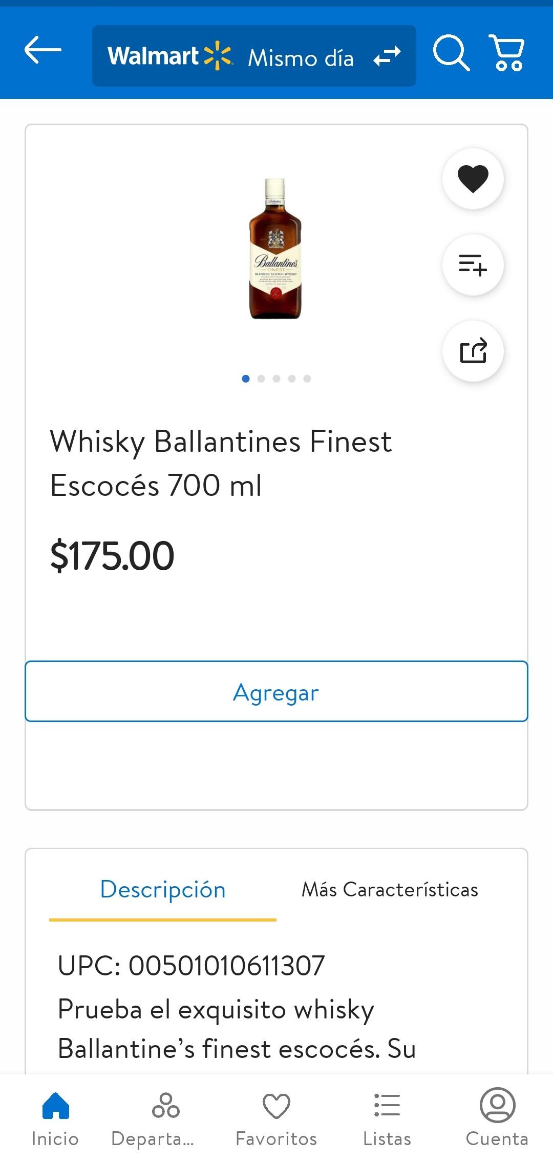Walmart: Whisky Ballantine's 700 ml