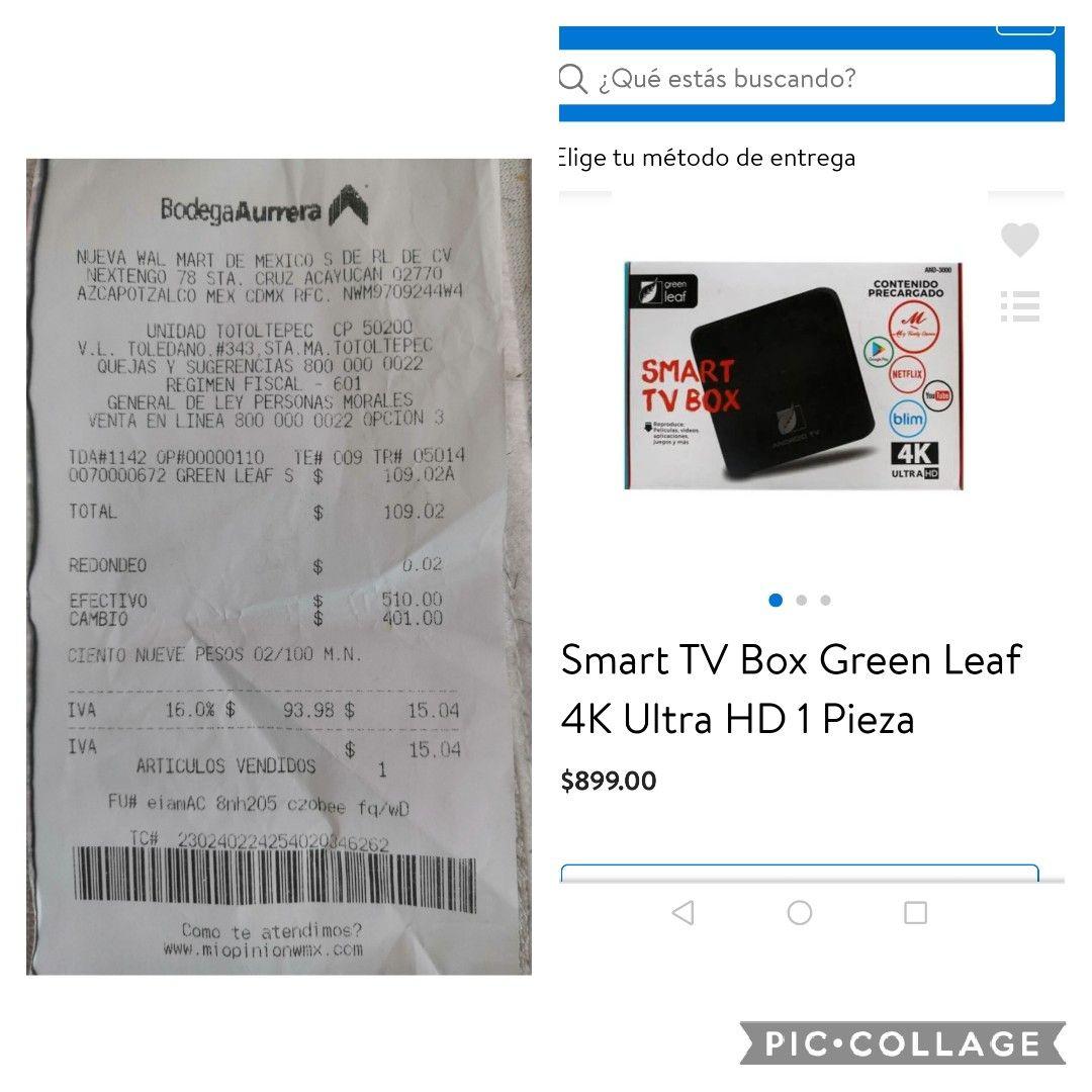 BODEGA AURRERA, SMART BOX TV 4K POR $109.02!!