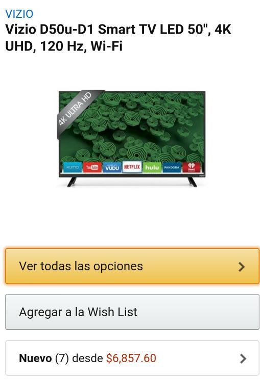"""Amazon: Pantalla Vizio 50"""" D50u-D1 LED Smart TV4K a $6,858 más $1,705 de envío (Vendida y enviada por un tercero nuevo)"""