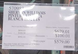 Costco San Luis Potosí: Pintura blanca Sherwin Williams