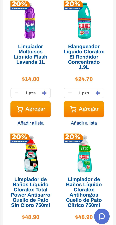 Chedraui: 20% de descuento en blanqueador Cloralex 1.9+100 ml, limpiadores de baño Cloralex 750 ml y limpiadores Flash 1 L