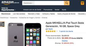 Amazon: iPod Touch 6a gen. 16GB a $2,989