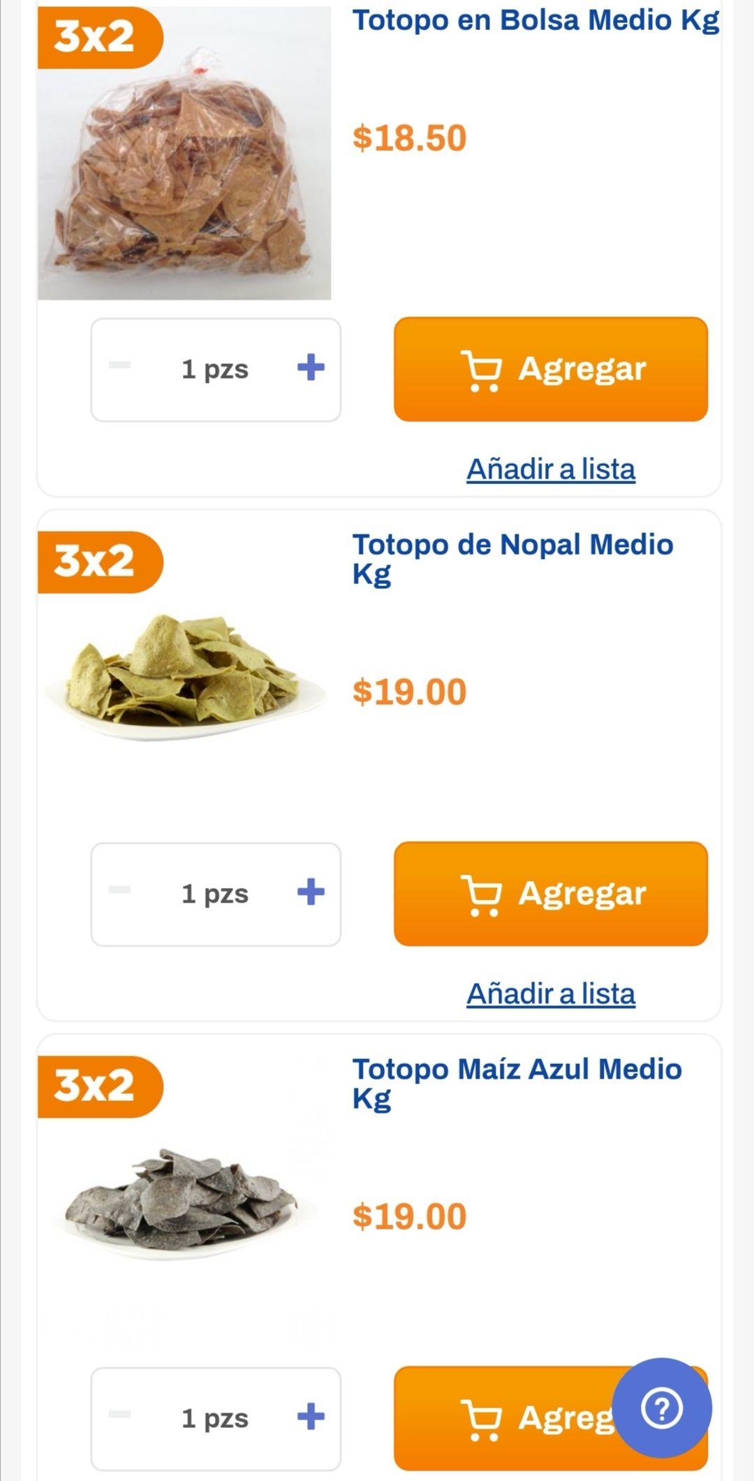 Chedraui: 3 x 2 en totopos natural, azul y nopal del departamento de tortillería
