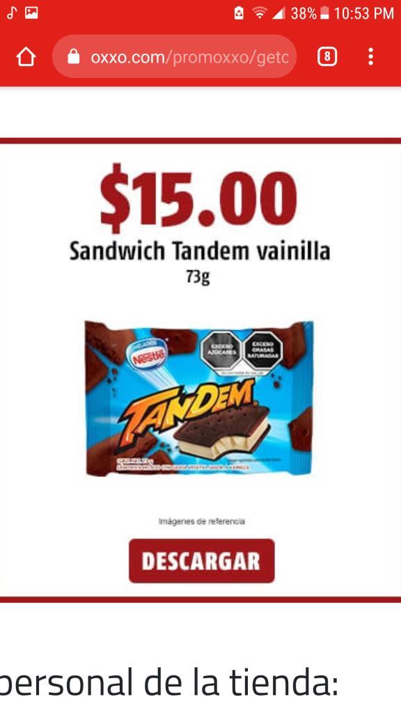 Oxxo: Sándwich Nestlé a $15 con cupón