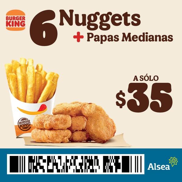 Burger King: Nuggets + papas medianas a $35 (cupón)