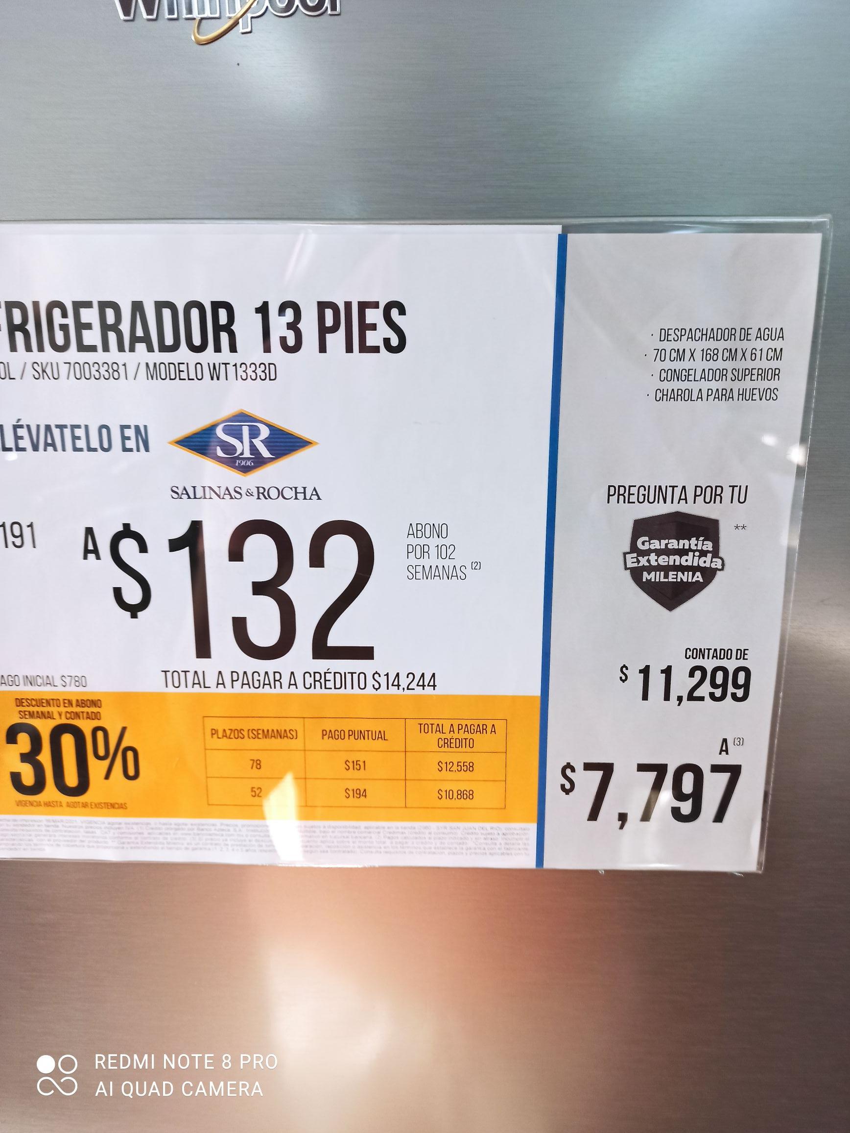 Salinas y Rocha Refrigerador 13 pies Whirlpool