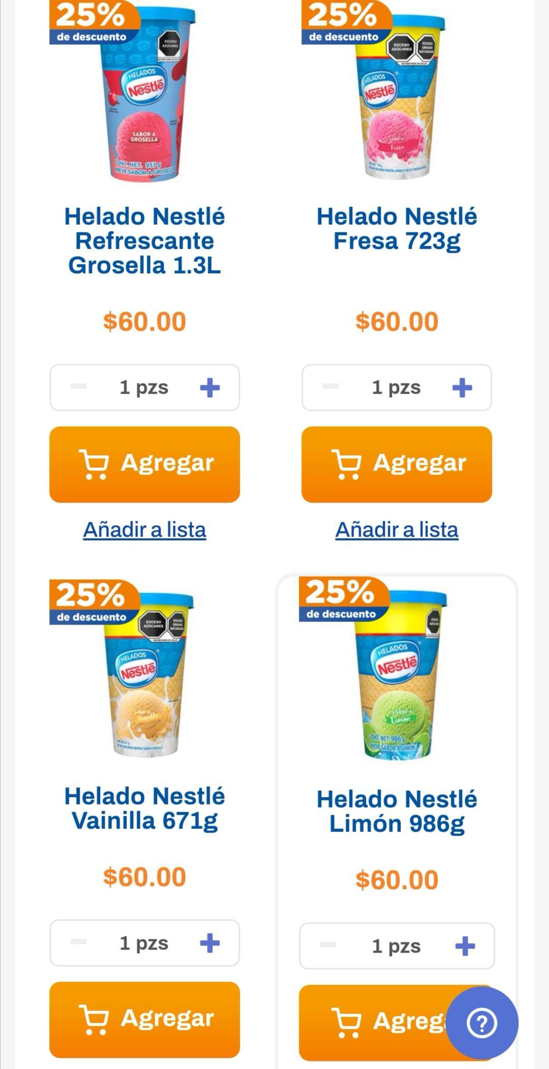 Chedraui: 25% de descuento por cada 2 piezas de Helado Nestlé 1.3 L
