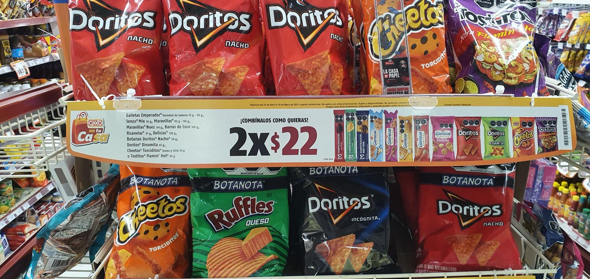 Oxxo: Doritos/Chetos 2 x $22