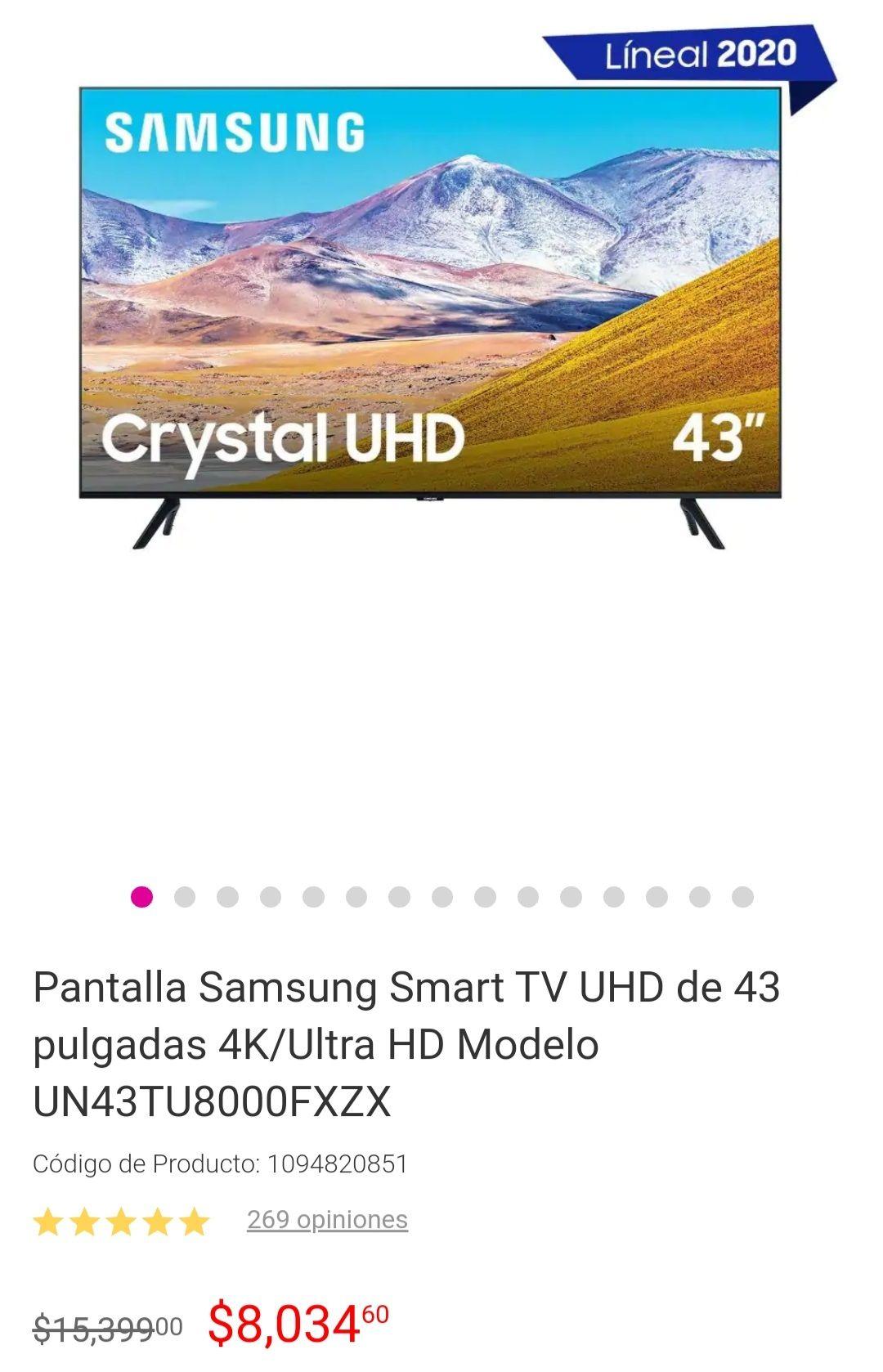 Liverpool: SmartTV Samsung 43TU8000 con BBVA