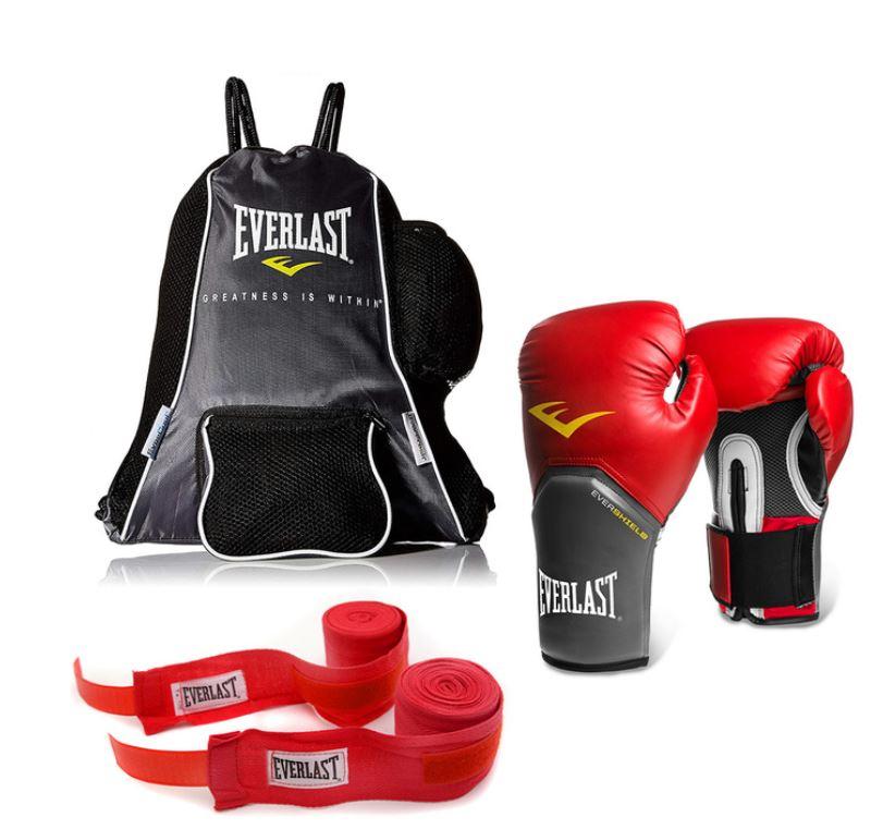 Costco - Everlast Kit de Box Guantes Elite Pro Style 14 oz. + par vendas 3.05 mts + mochila
