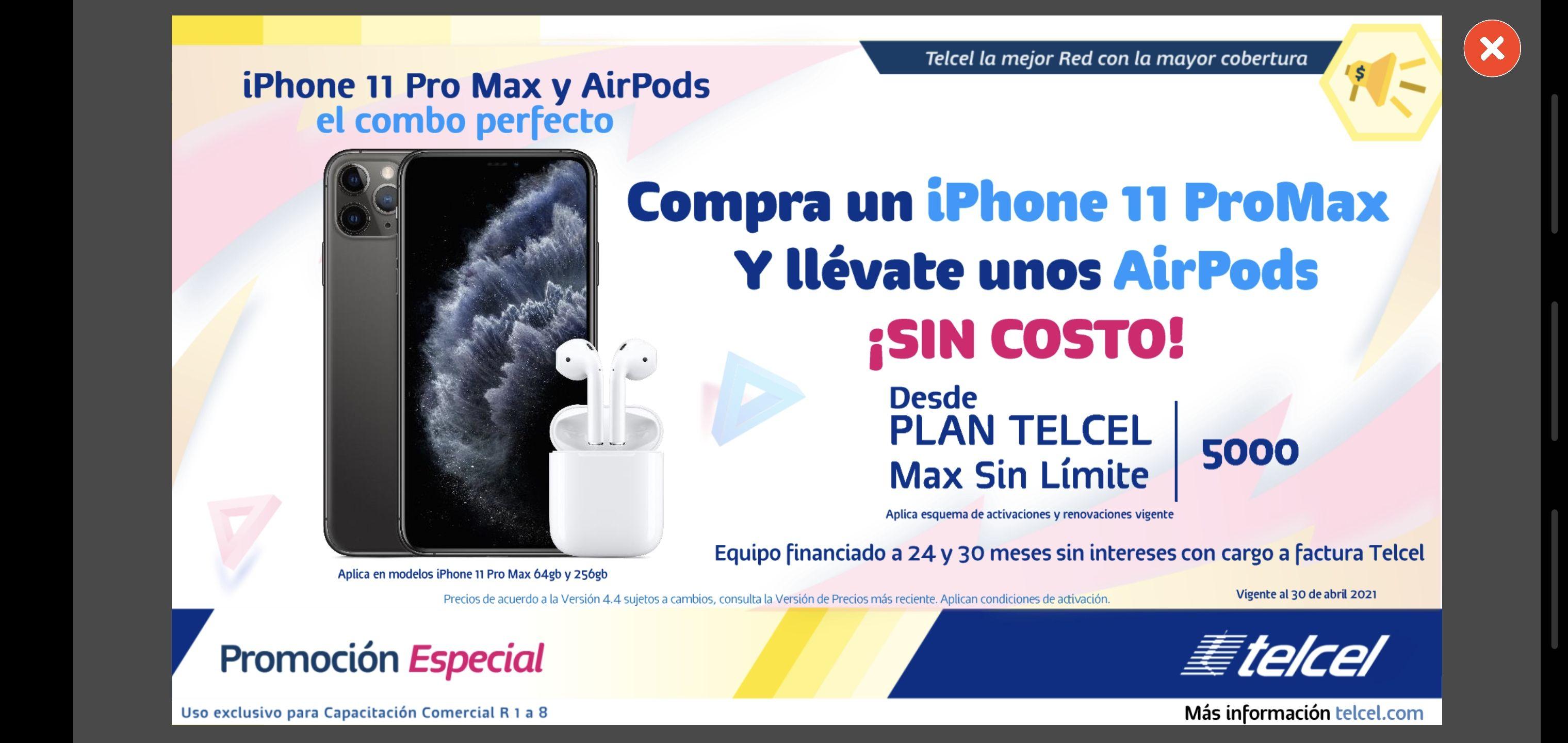 Telcel: Promoción IPhone 11 Pro Max y Air Pods