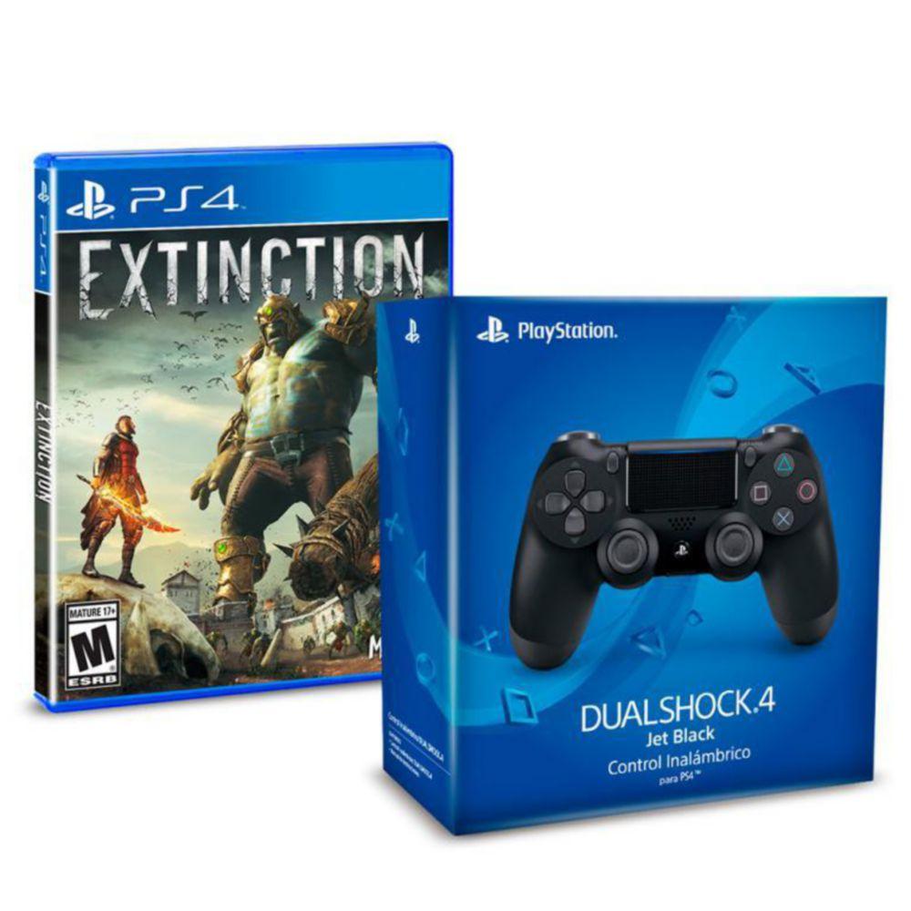 Elektra: Control inalámbrico PS4 Dual Shock 4 Jet Black más Extinction