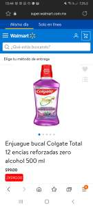 2 Enjuague bucal Colgate Total 12 encías reforzadas zero alcohol 500 ml por $90