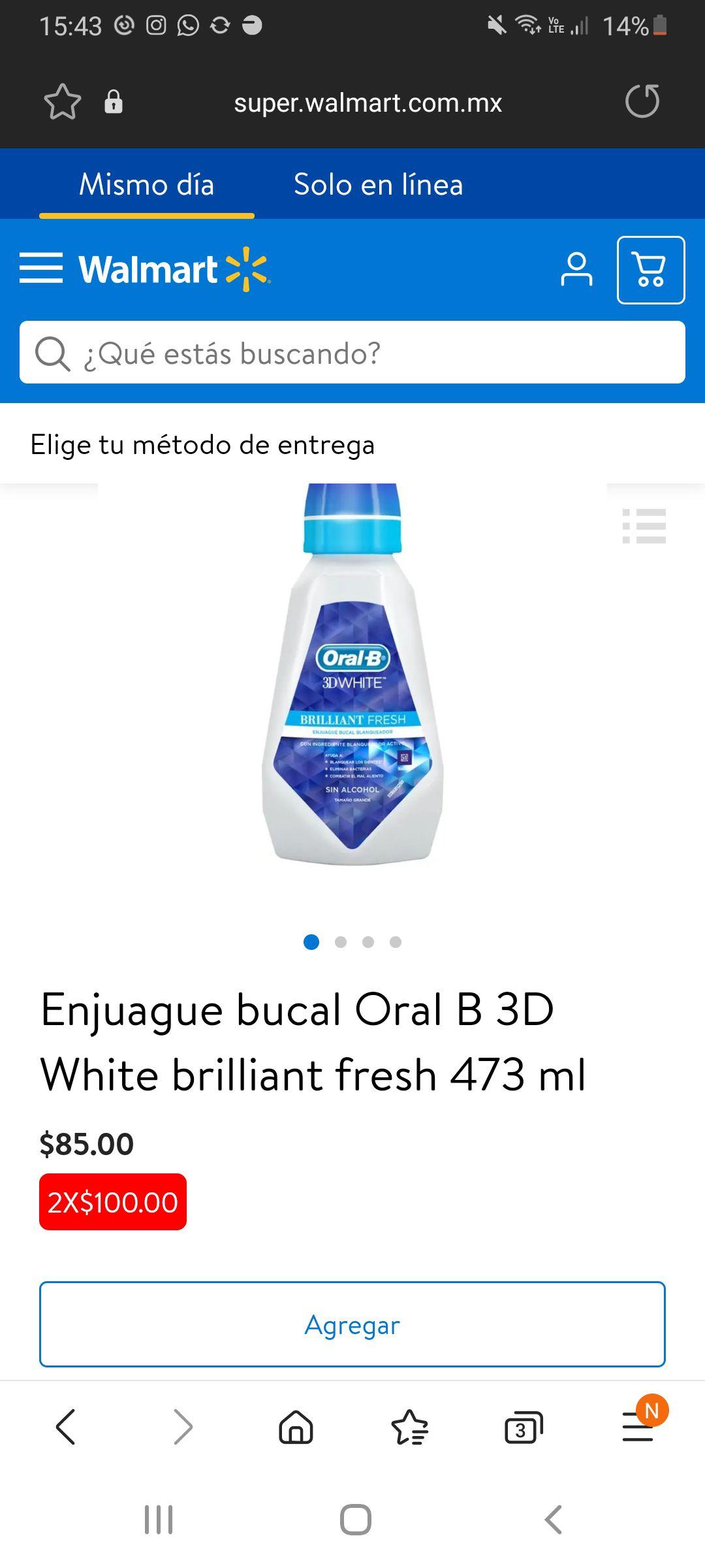 2 Enjuague bucal Oral B 3D White brilliant fresh por $100