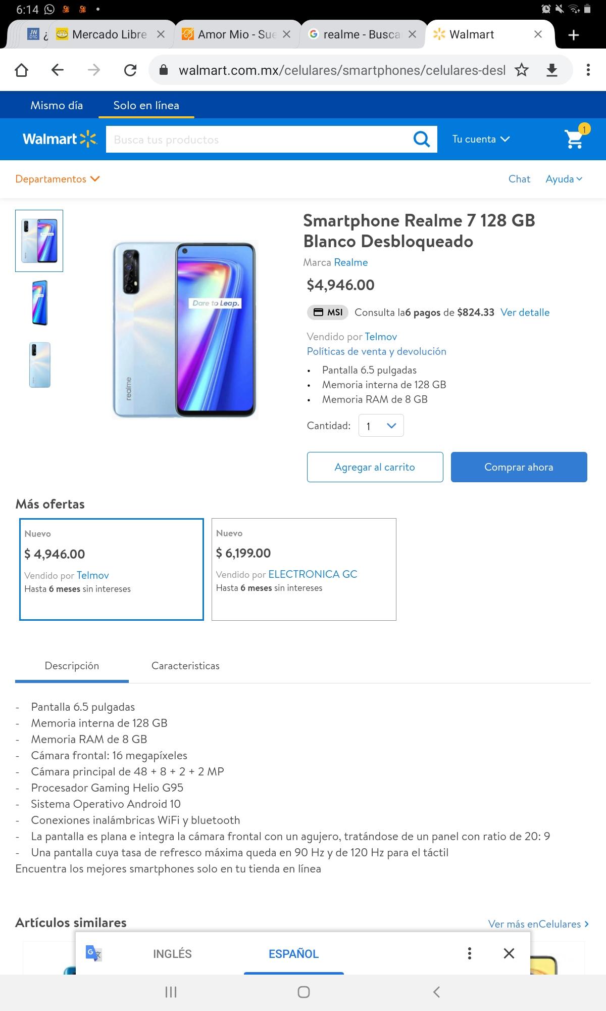 Smartphone Realme 7 128 GB Blanco Desbloqueado-Walmart