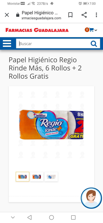 Farmacias Guadalajara: Papel higiénico regio 6+2 de 300 hojas