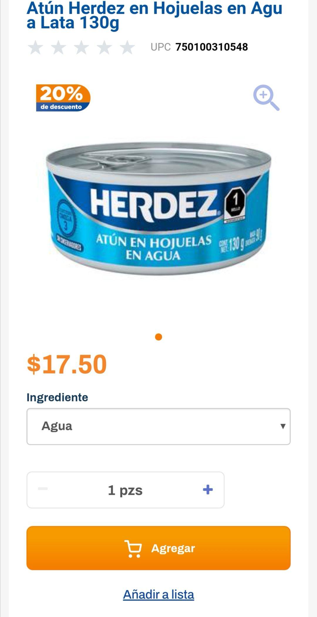 Chedraui: 20% de descuento en atún en agua ó aceite Herdez lata 130 g
