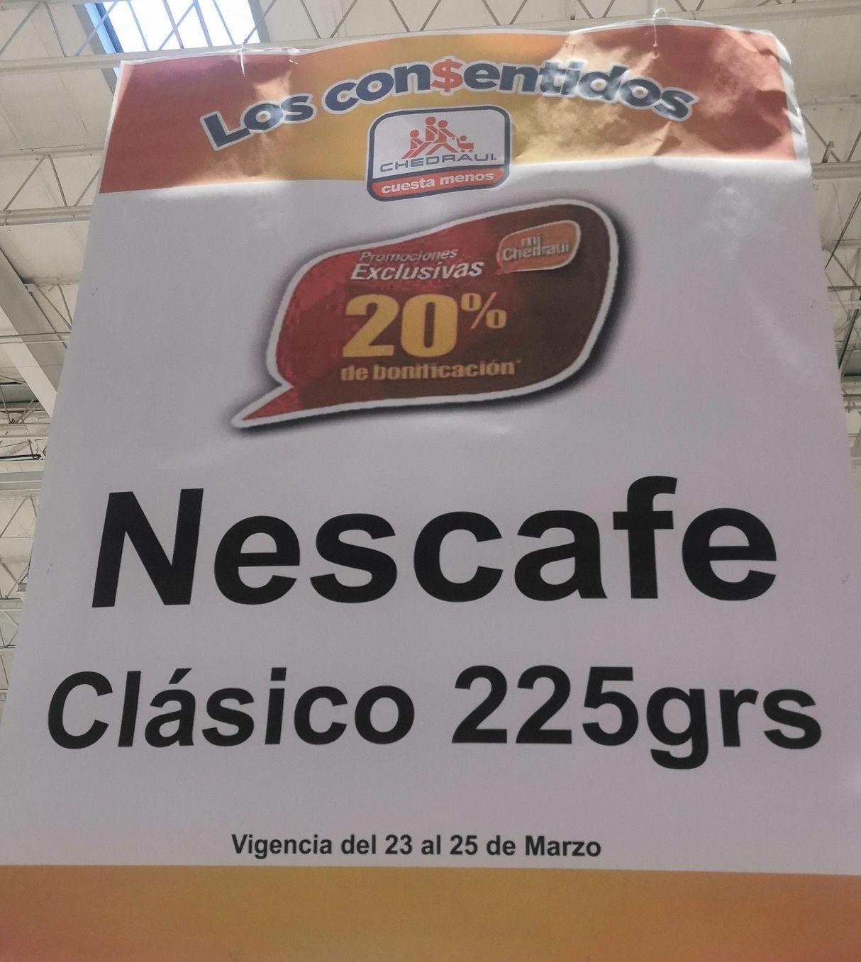 Chedraui: 20% de bonificación en Monedero en Nescafé Clásico 225 g.