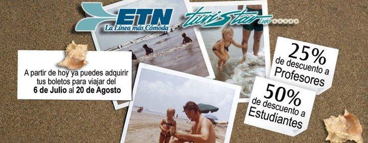 ETN y Turistar: descuentos para estudiantes y profesores para vacaciones de verano