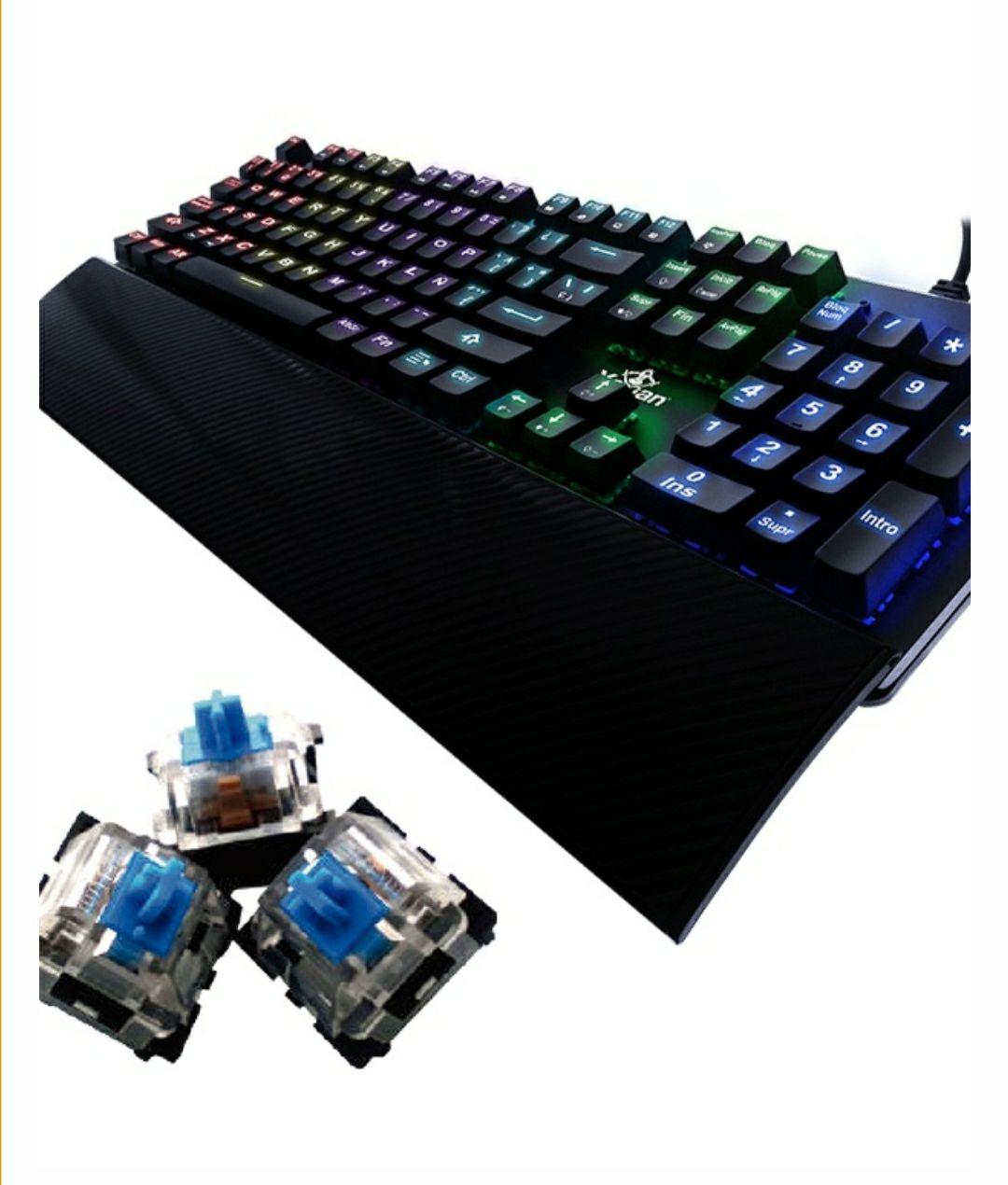 CyberPuerta: Teclado Gamer Yeyian Flare Serie 2000 RGB, Teclado Mecánico, Outemu Blue, Alámbrico, Negro (Español)