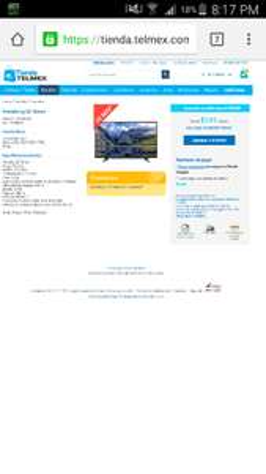 "Telmex: Pantalla Lg 32"" Smart 32LH570B a $5,999"
