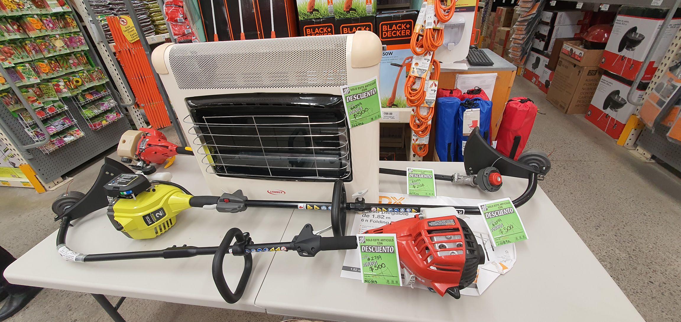 Home Depot Calefactor de gas $500 Cortadora de césped $200