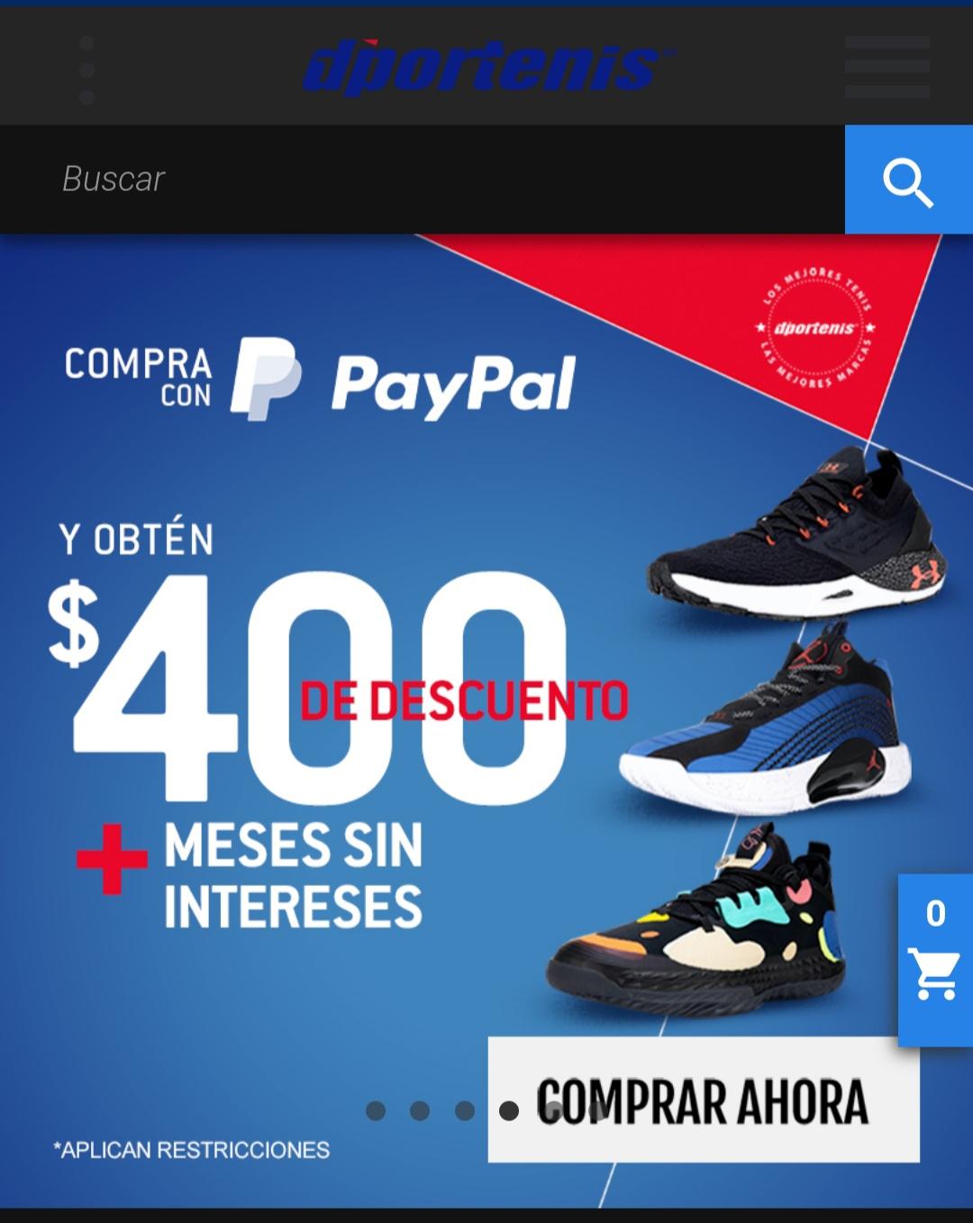 dportenis en línea: $400 de descuento + Hasta 9 MSI comprando con PayPal