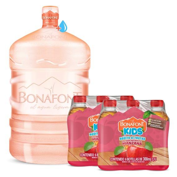 Bonafont: Envase + Agua Bonafont 20L + 2 Bonafont Kids Bebida con Jugo de Manzana 6x300mL