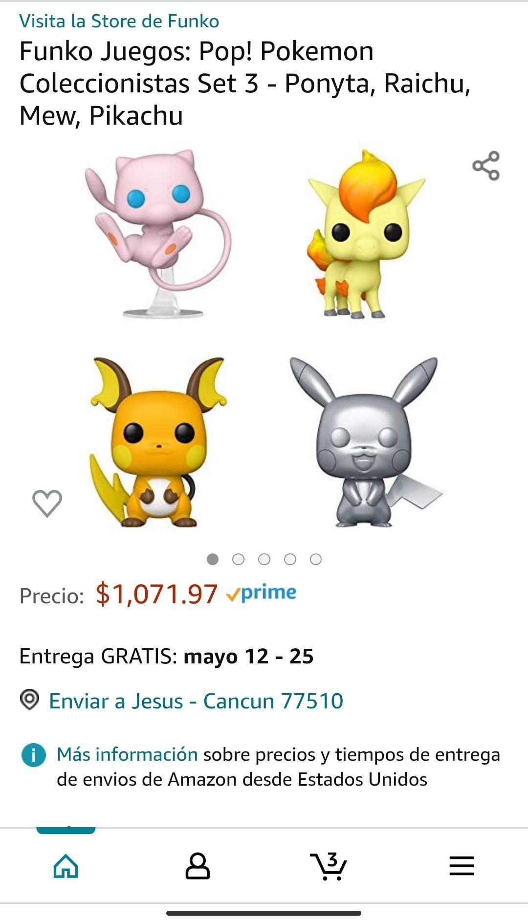 Amazon: Funko Juegos: Pop! Pokemon Coleccionistas Set 3 - Ponyta, Raichu, Mew, Pikachu