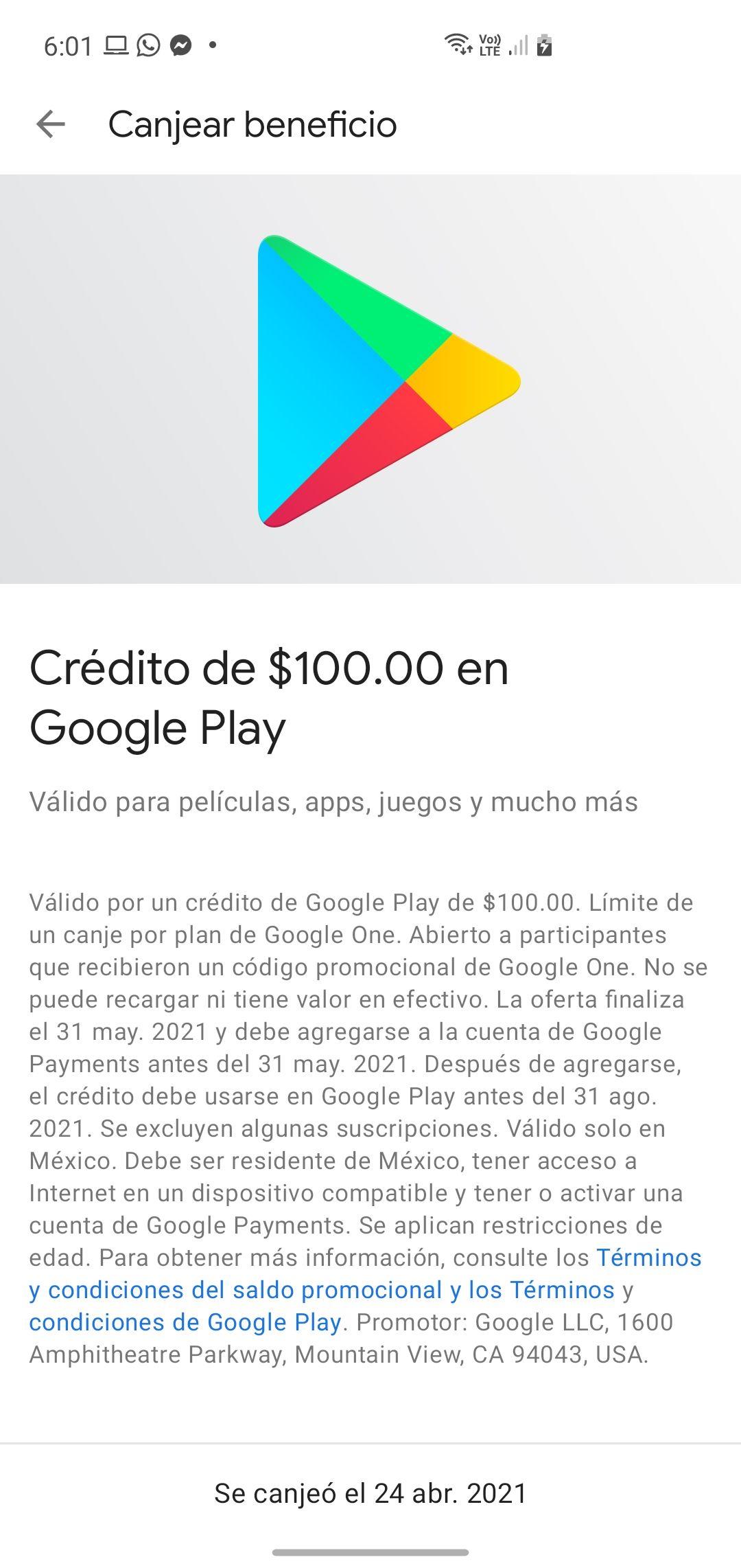 100 de crédito para Playstore si cuentas con cuenta de Google One