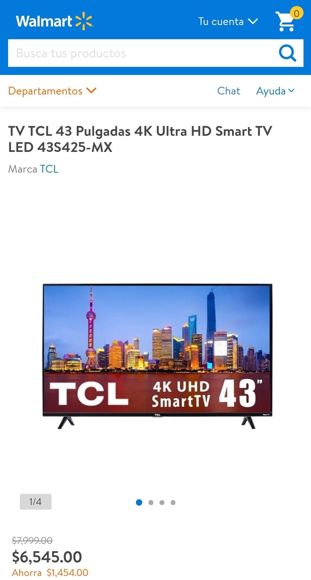 Walmart: Smart TV TCL 43S425 ROKU TV con BBVA digital credito
