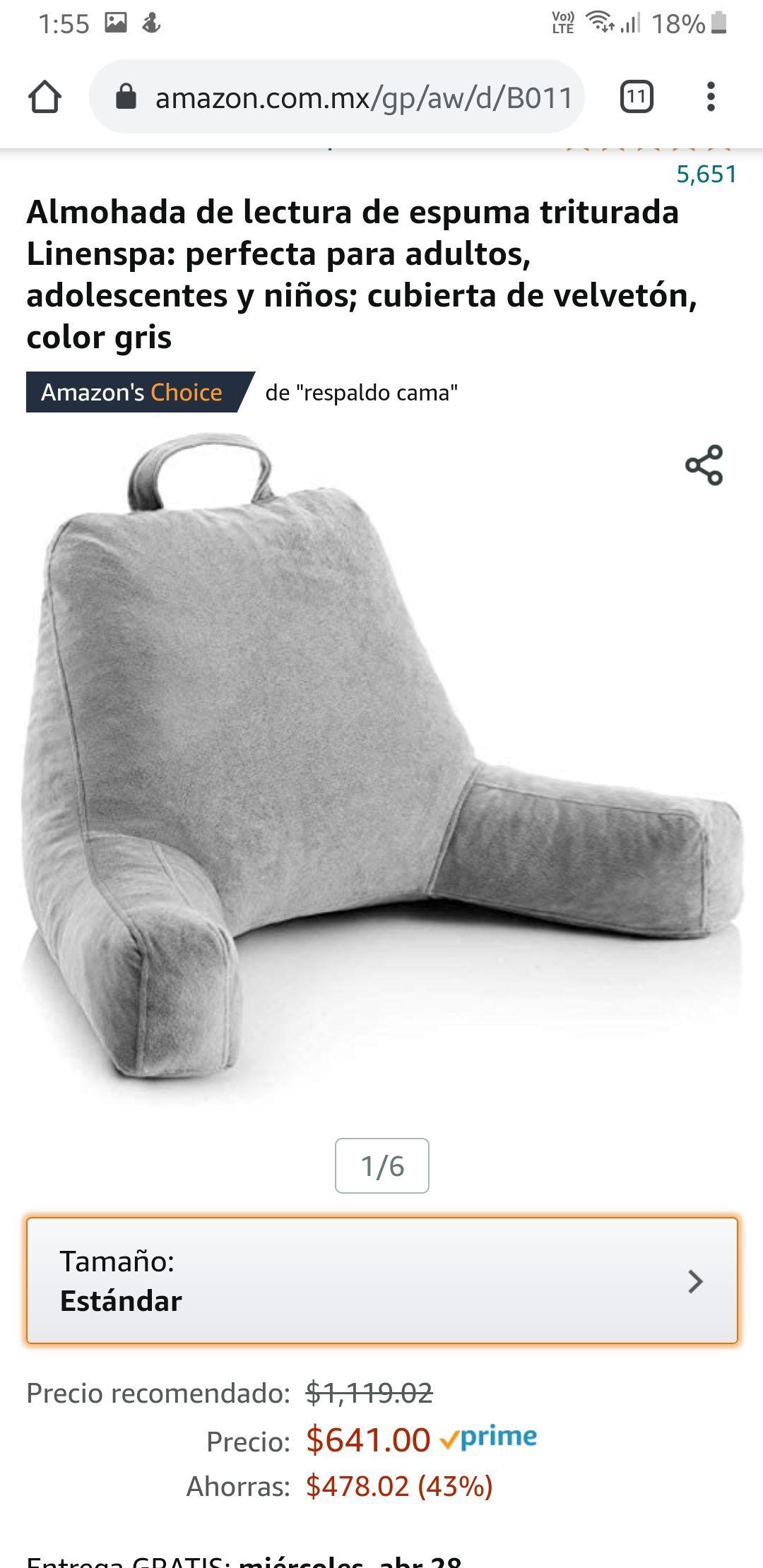 Amazon: Almohada de lectura de espuma