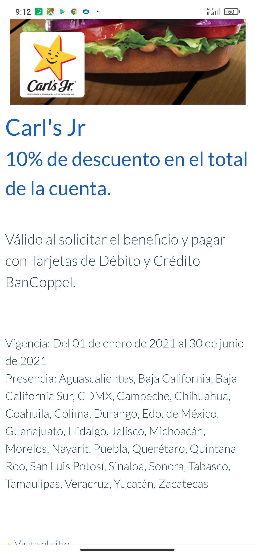 10% descuento en Carls Jr con tarjetas BanCoppel