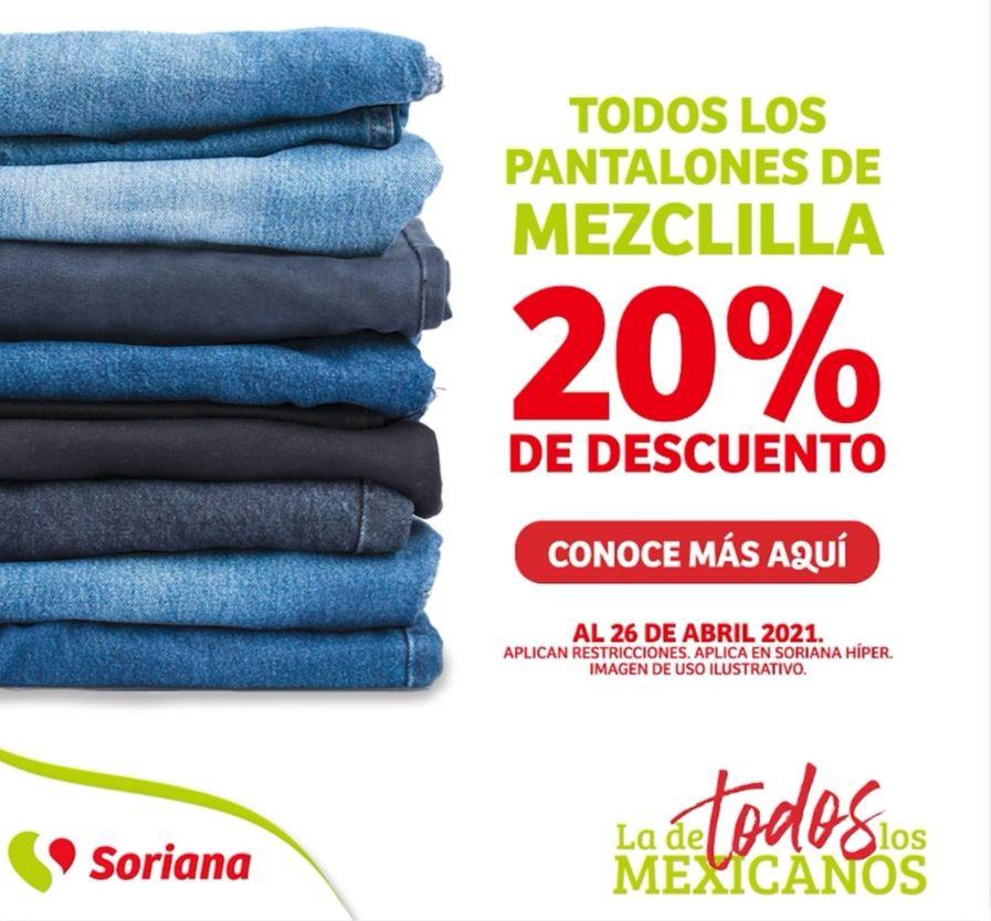 Soriana Híper: 20% de descuento en todos los pantalones de mezclilla para toda la familia