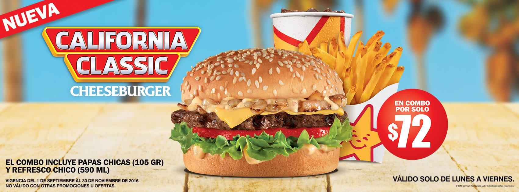 Carl's Jr.: combo chico de California Classic Cheeseburger por $72