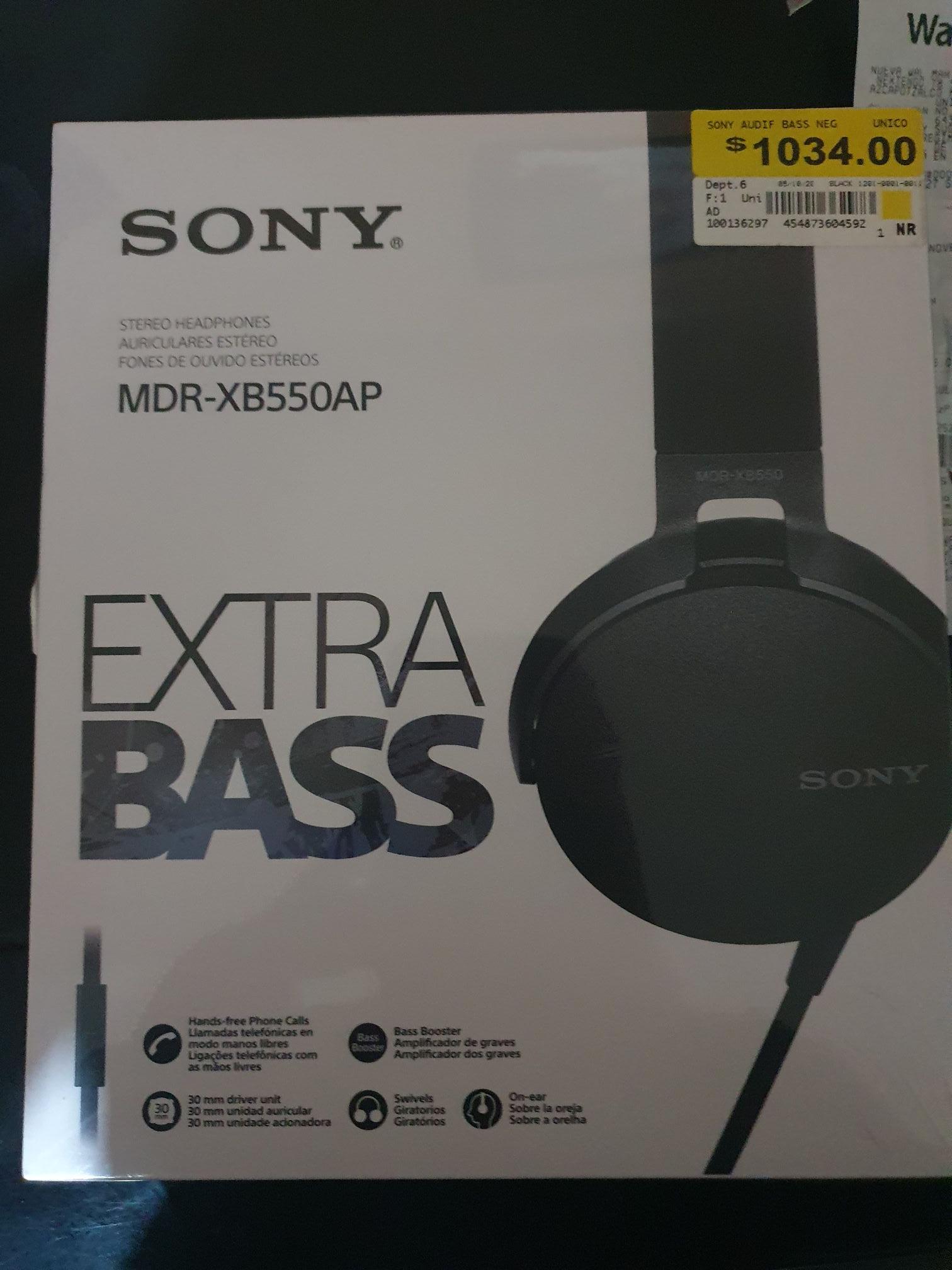 WALMART AUDIFONOS SONY EXTRA BASS MDR-XB550AP