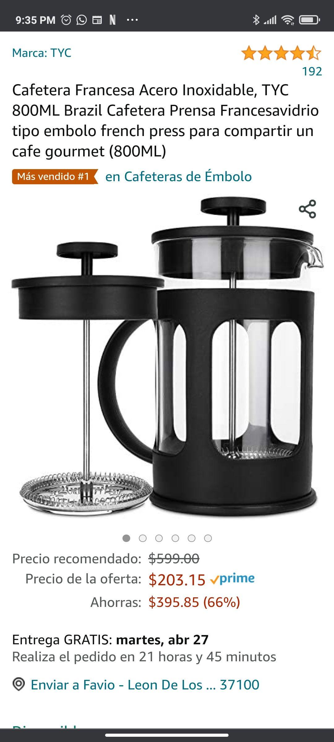 Amazon: Cafeteras Pensas francesas de 1 litro y 800 ML de menos de 210 pesos, para que tus lunes inicien mejor