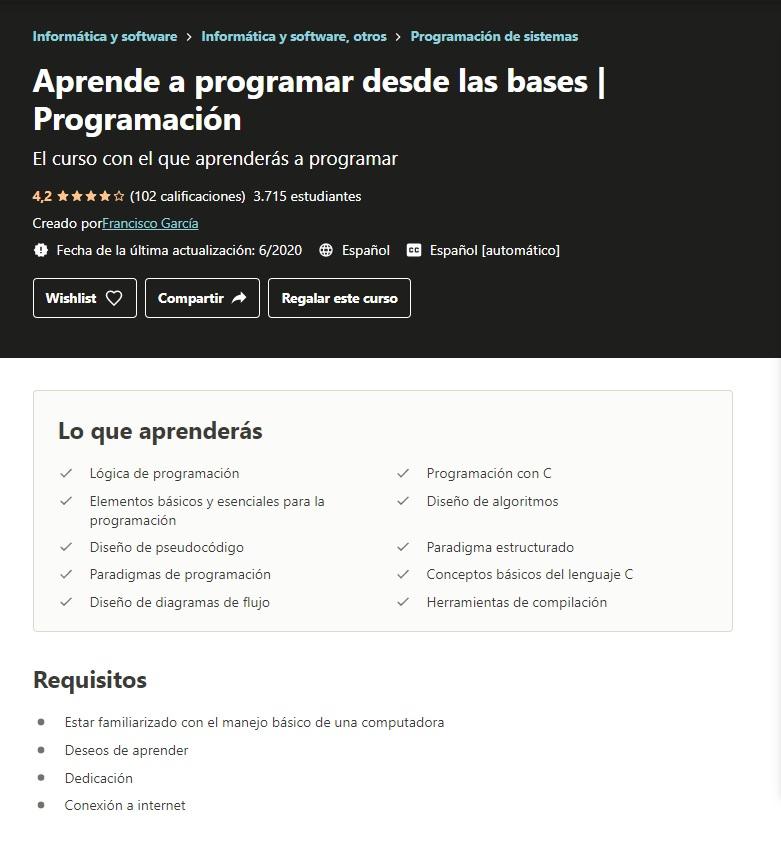 Curso Udemy Aprende a programar desde las bases   Programación