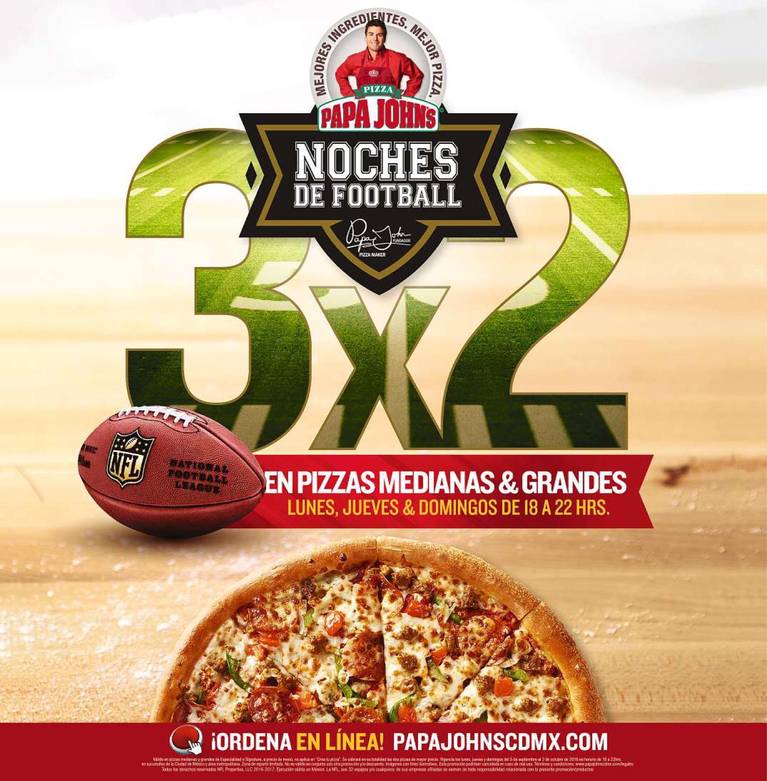 Papa John's noches de football: 3x2 en pizzas jueves, domingos y lunes