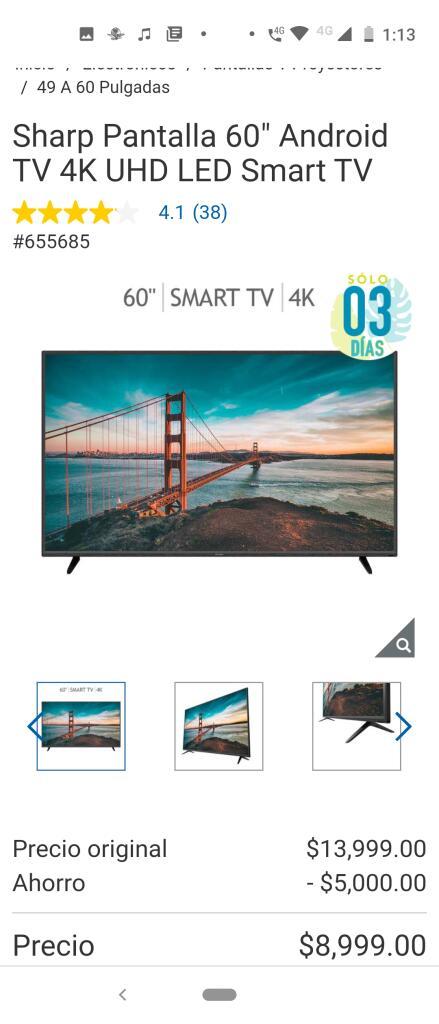 "Costco Sharp Pantalla 60"" Android TV 4K UHD LED Smart TV"