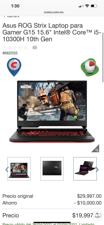 """Amazon: Asus ROG Strix Laptop para Gamer G15 15.6"""" Intel® Core™ i5-10300H 10th Gen"""