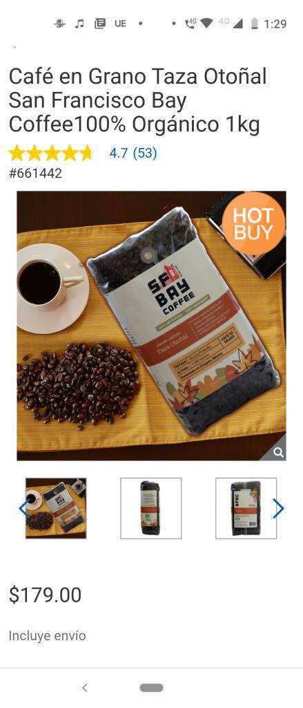 Costco Café en Grano Taza Otoñal San Francisco Bay Coffee100% Orgánico 1kg