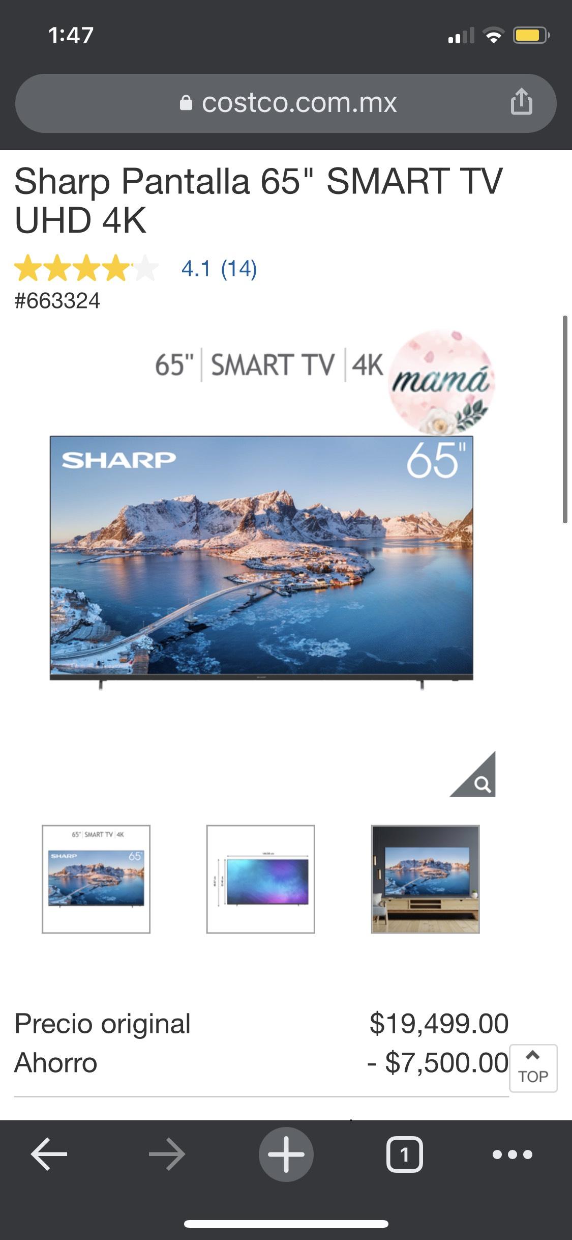 "Costco: Sharp Pantalla 65"" SMART TV UHD 4K"