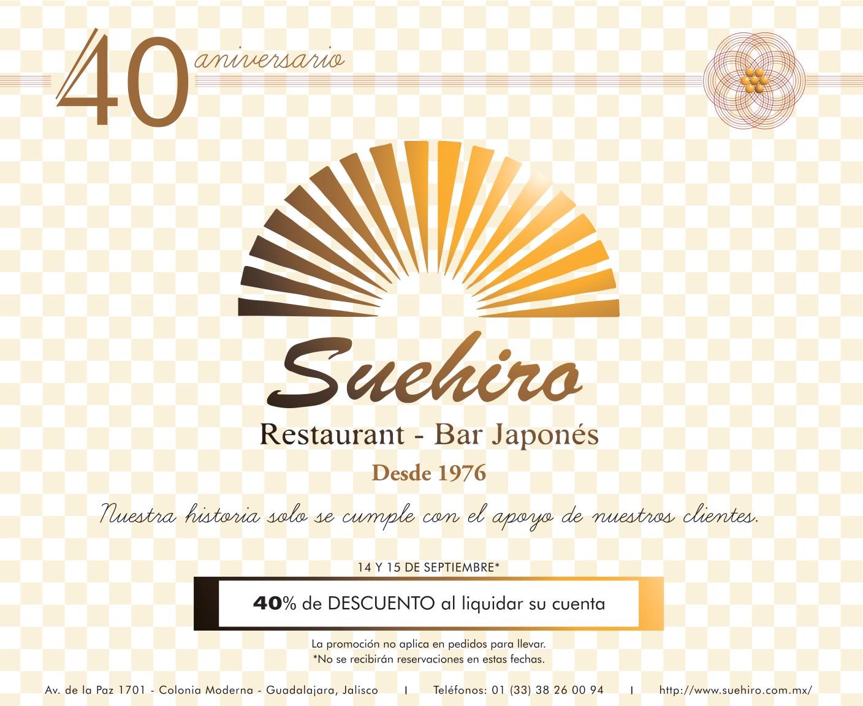 Suehiro (GDL): 40% de descuento en todo el consumo 14 y 15 de septiembre