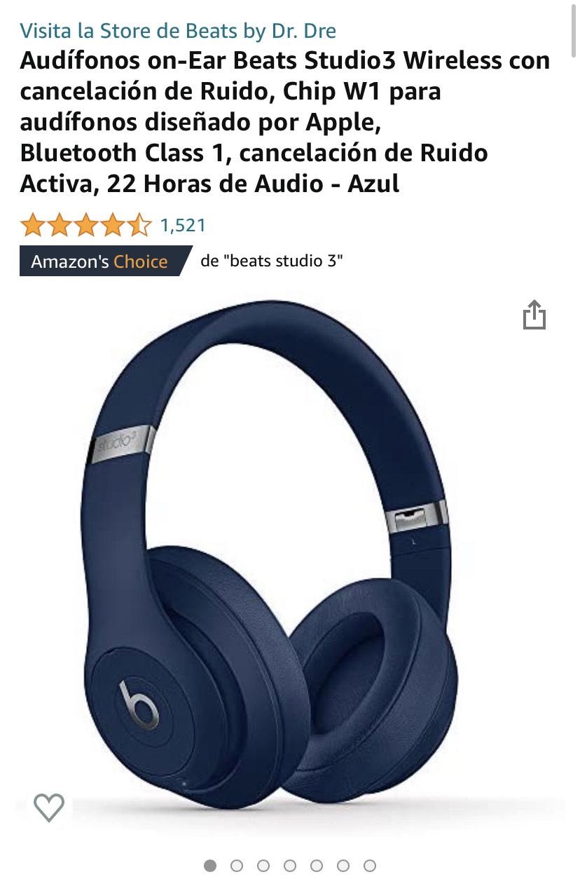 Amazon: Audífonos on-Ear Beats Studio3 Wireless con cancelación de Ruido
