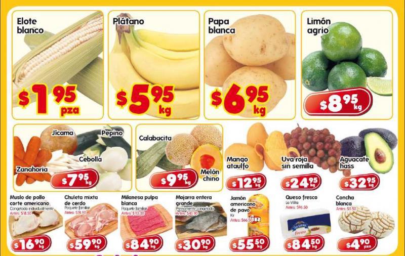 Frutas y verduras HEB: elote $1.95 pza, plátano $5.95 y más