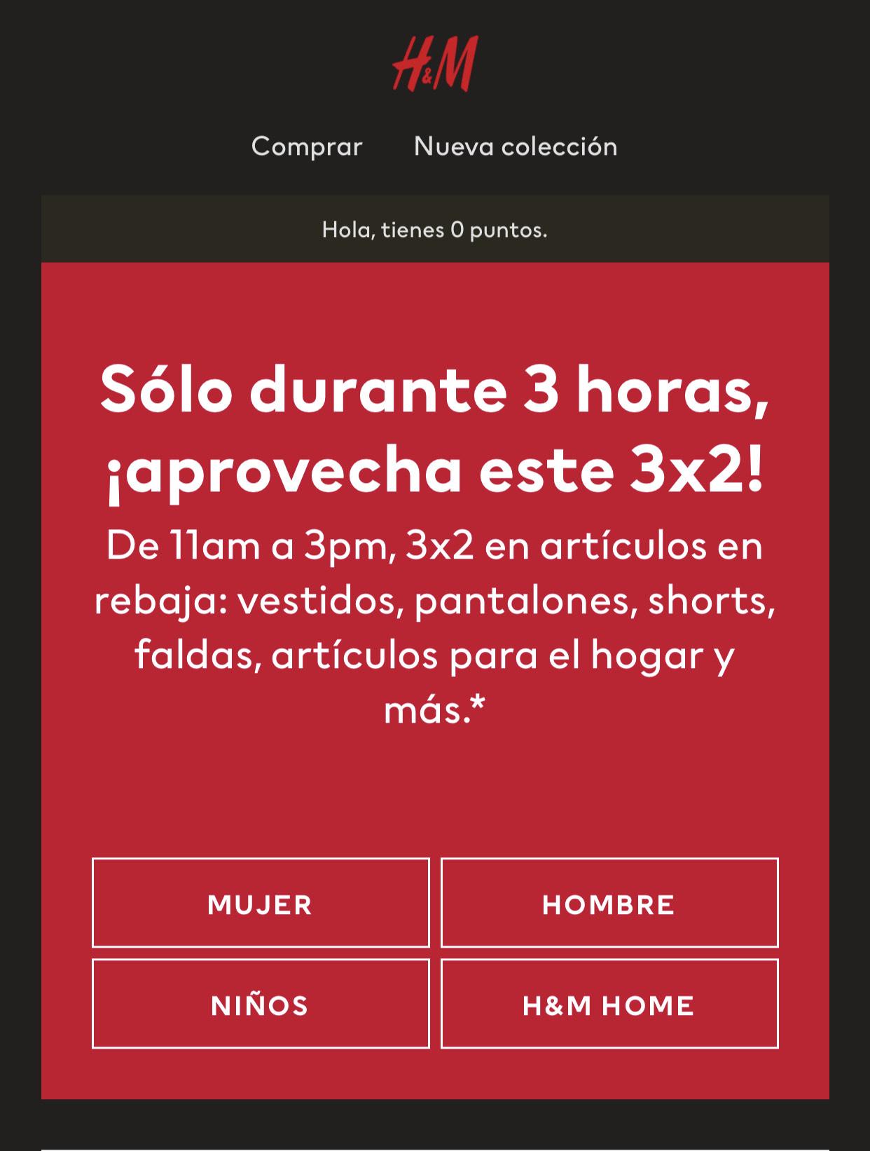 H&M: 3x2 en Artículos en Rebaja