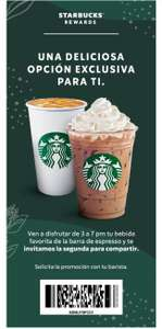 Starbucks 2x1 en bebidas seleccionadas (de 3 a 7 pm)