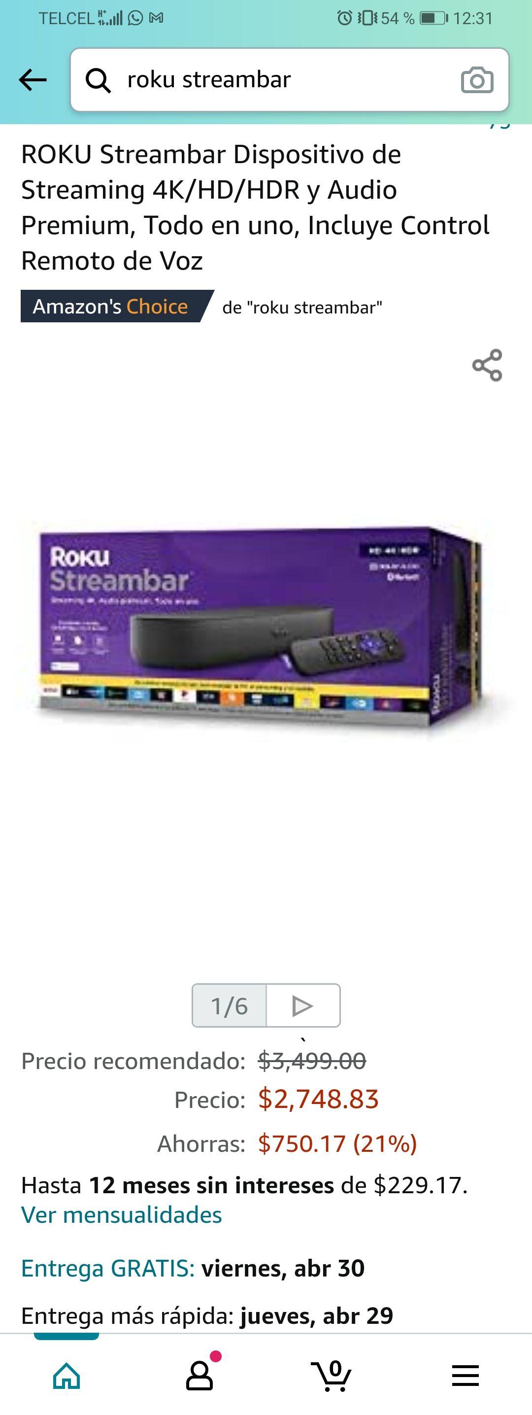 Amazon: ROKU Streambar Dispositivo de Streaming 4K/HD/HDR y Audio Premium, Todo en uno, Incluye Control Remoto de Voz