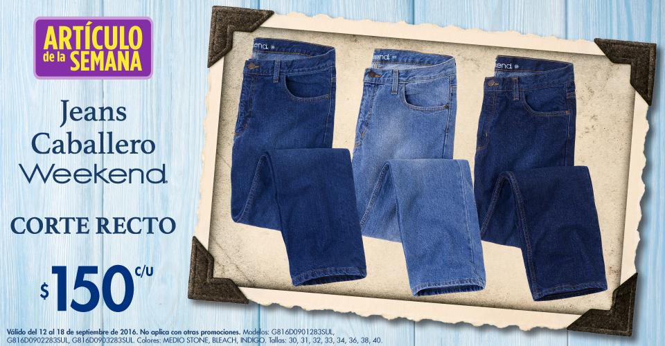 Suburbia: artículo de la semana Jeans para Caballero Weekend, corte recto a $150 del 12 al 18 de Septiembre 2016
